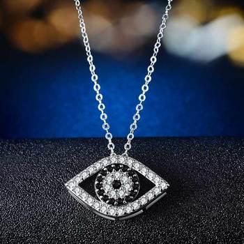 Huitan Punk Black and White Devil Eyes Charms Necklace Women Fashion Jewelry Micro Paved CZ Stones ExaggeratedShape Wholesale 2