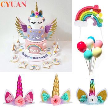 Unicorn Horn Cake Topper Kids Birthday Party Decor Rainbow Balloon Cupcake Toppers Baby Shower Wedding Cake Decorations cake toppers flags hot air balloon star moon rainbow cake topper kids happy birthday wedding baby shower baking party diy xmas