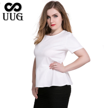 Fat Women Big Size T shirts Plus 6XL Black Ruffles Bottom Blouses 5XL Large Lady White Clothing Tops Casual 4XL
