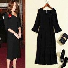 Kate Middleton المدرج عالية الجودة الخريف جديد المرأة حفلة عمل مثير خمر أنيقة غير النظامية طوق أسود أبيض فساتين راقية