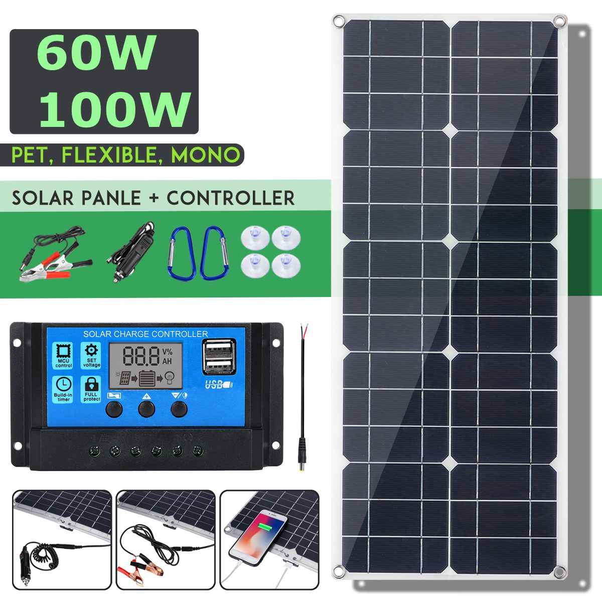 Hot Sales 100W 18V Mono Solar Panel Dual 12V/5V DC USB Monocrystaline Flexible Solar Charger For Car RV Boat Battery Charger