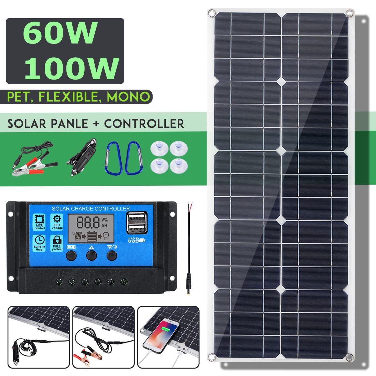 Gran oferta 100W 18V Panel Solar Mono Dual 12 V/5 V CC USB monocristalina Flexible Cargador Solar para coche RV barco cargador de batería