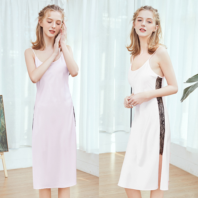 Yao Ting New Style Silk Sexy Pajamas Women's Summer Long Simple Slip Nightdress Tracksuit Cq1152