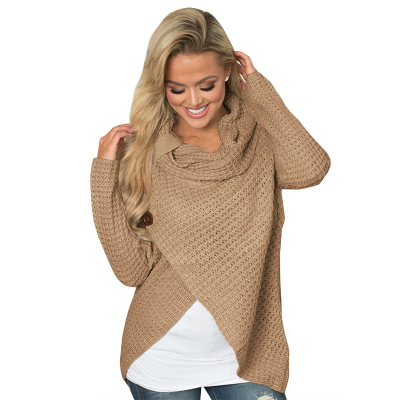 New Women Knitted Pullovers Casual Long Sleeve Solid Sweater Women O Neck Loose Irregular Sweater Autumn Winter Women Clothing