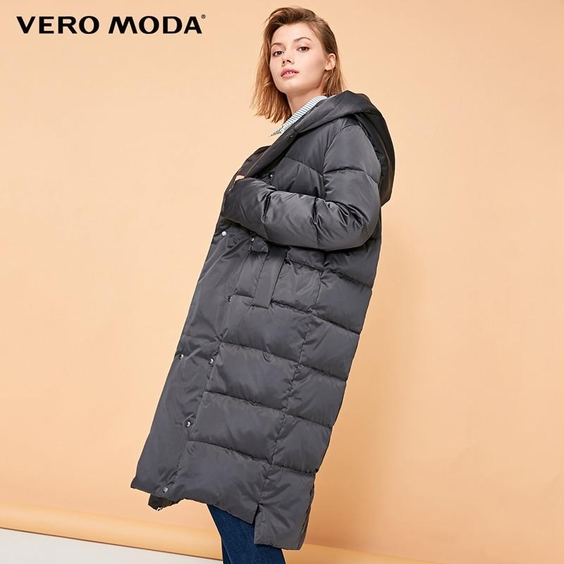 Vero Moda Women's Glossy Button Hooded Long Down Jacket  | 318412508