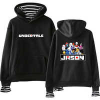 Undertale Sans sweats à capuche faux deux pièces sweat à capuche pour homme dessin animé impression sweats à capuche mode rayure sweat ample Harajuku femmes pulls