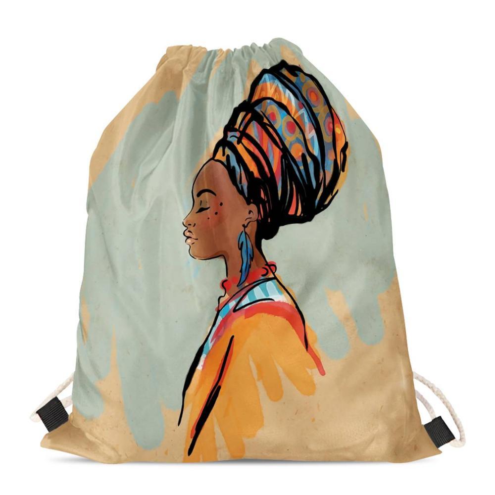 HYCOOL Fashion Drawstring Bagsfor Women Scarf African Black Girl Print Kids Book Bags Ladies Beach String Backpack For Girls