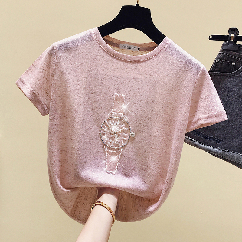 Gkfnmt T Shirt Women 2020 Summer Tops Beading T-Shirt Female Short Sleeve Korean Fashion Tshirt Woman Clothes Tee Shirt Femme