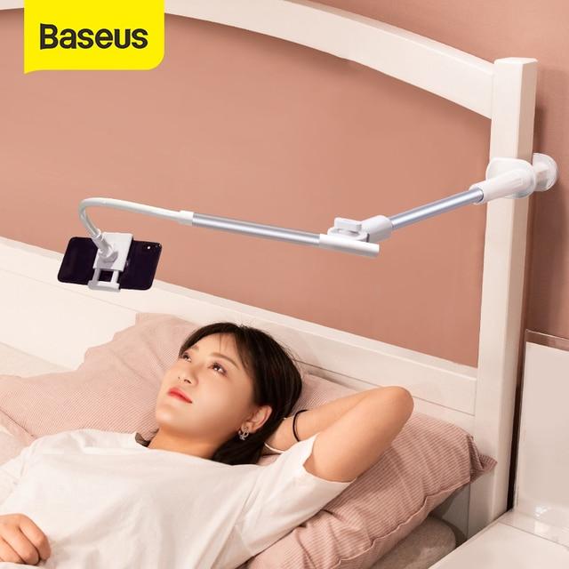 Baseus Foldable Mobile Phone Holder Adjustable Long Arm Lazy Phone Holder Clip Desk Tablet Mount Holder Stand For iPhone Samsung