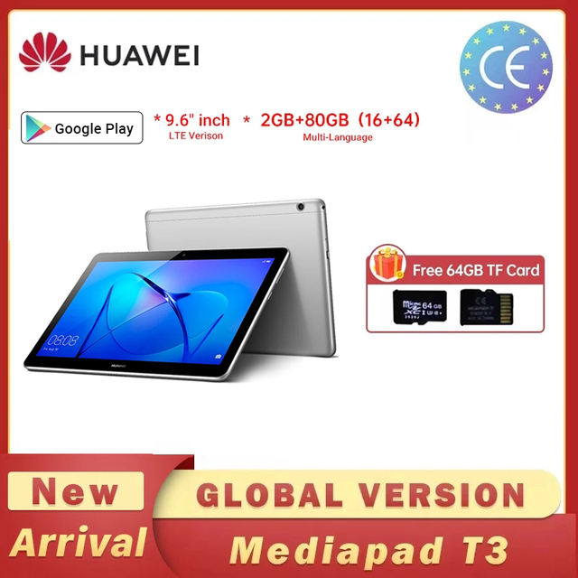 Huawei MediaPad9.6 inch T3 10 AGS-W09/AGS-L09 Tablet PC SnapDragon 425 Octa-Core 2GB Ram 32GB Rom 9.6 inch Android 7.0 1280*800 1