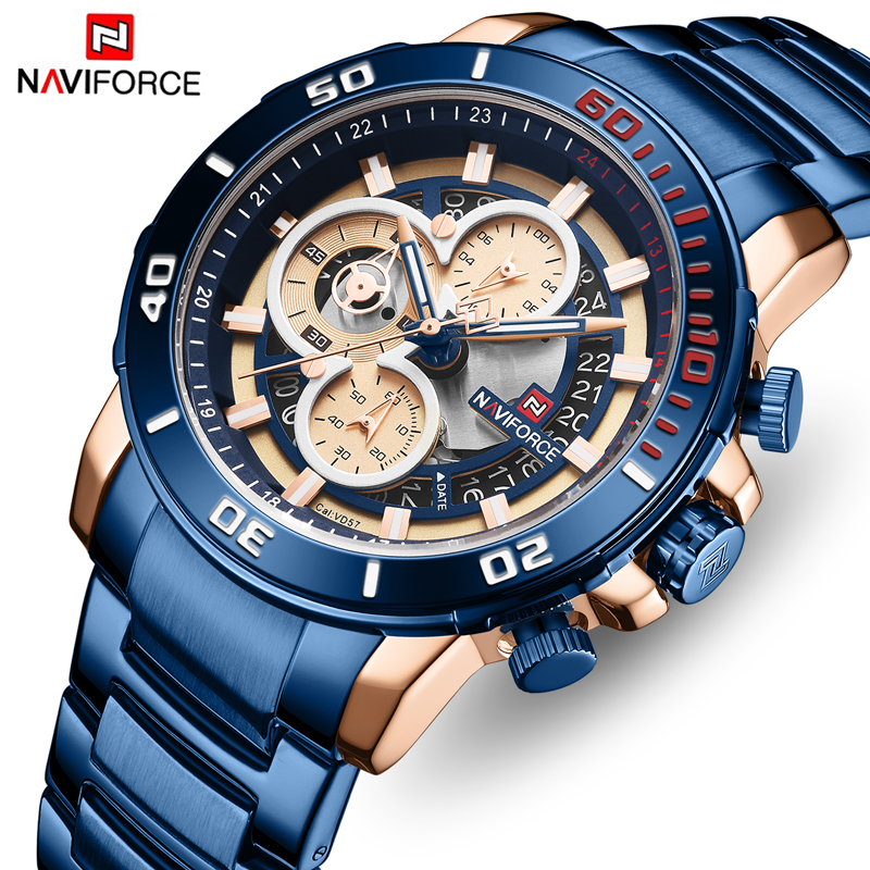 Men Watch Top Brand Luxury NAVIFORCE Mens Analog Quartz Watches Fashion Stainless Steel Sports Wristwatches Relogio Masculino