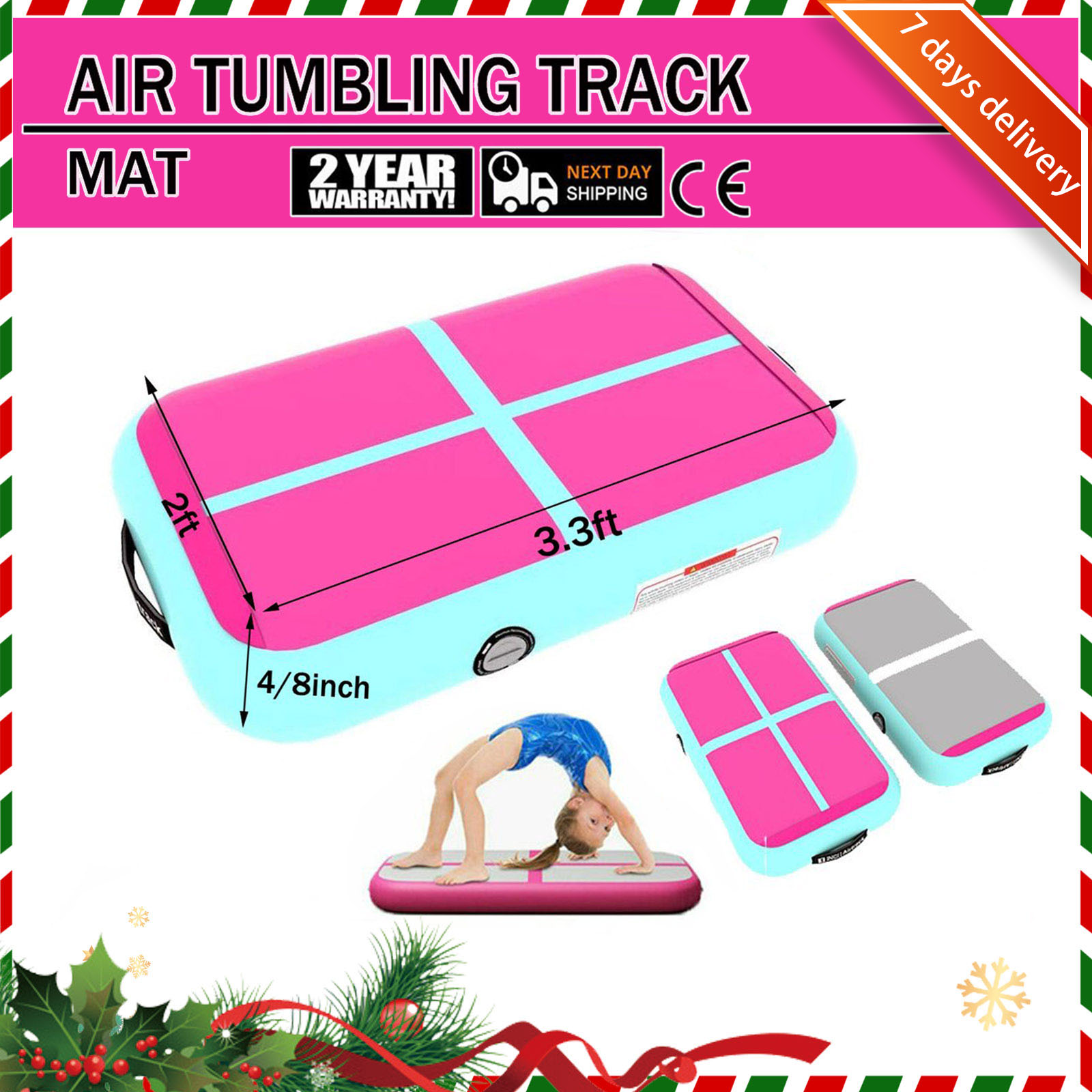 Rimdoc 1M Inflatable Gymnastics Airtrack Tumbling Air Track Floor Christmas Gift For Kids Olympics Gym Mat Air Tumble Track Home