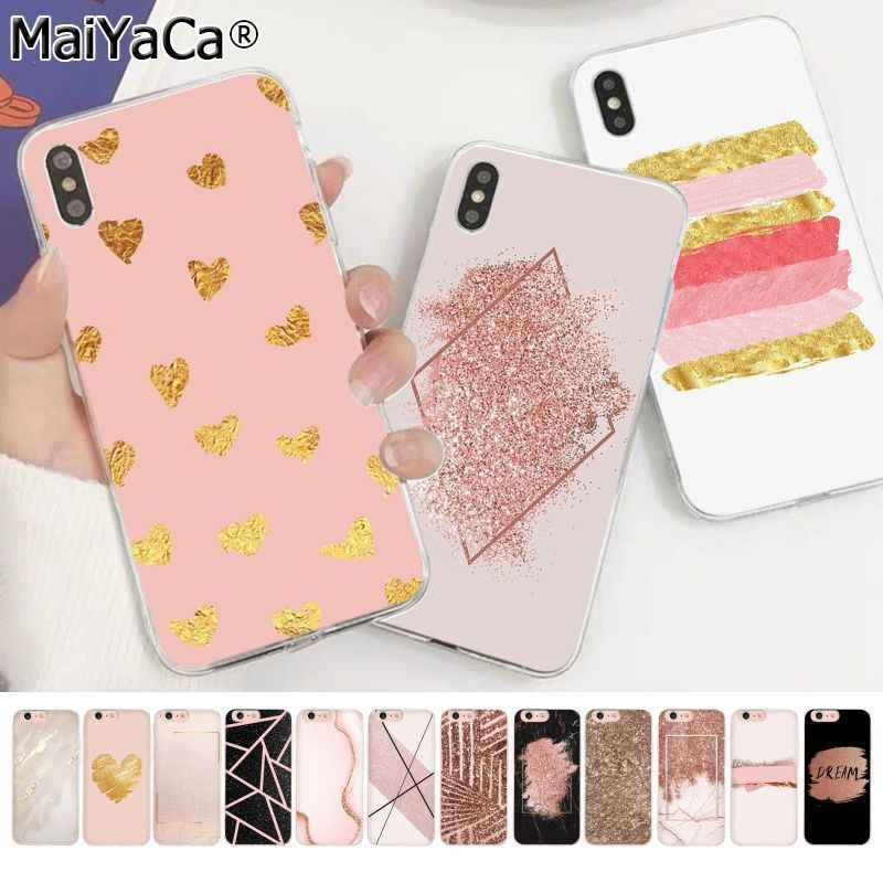 MaiYaCa marble Gold Rose Glitter Love Transparent TPU Phone Case Cover for Apple iphone 11 pro 8 7 66S Plus X XS MAX 5S SE XR