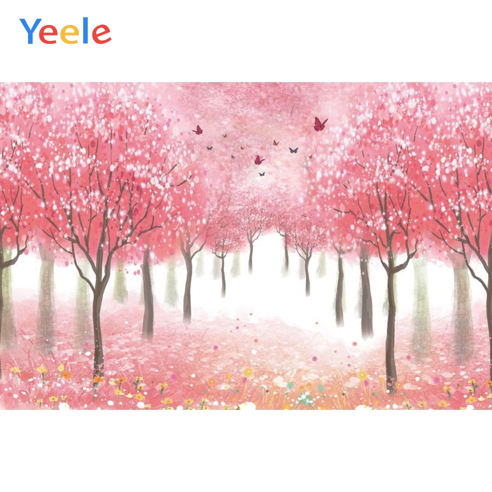 Dreamy Forest Tree Flower Backdrop Newborn Baby Shower Kids Portrait Pet Show Love Photography Background For Photo studio in Background from Consumer Electronics
