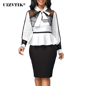 Woman Dress 2021 Spring Casual Plus Size Slim Patchwork White Black Lace Office Bodycon Dresses Elegant Sexy Long Party Dress
