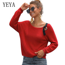 YEYA Casual High Streetwear Women Sweater Elastic Solid O-neck Fall New Fashion Woman Slim Sexy Knitted Pullovers