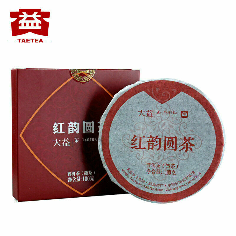 2019 Year TAETEA Red Rhyme Round Tea Menghai Tea Factory Dayi Pu'er Tea Ripe 100g