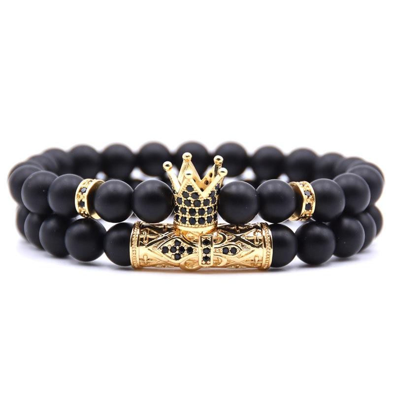 2020 Handmade Crown Bracelet 2pcs/set femme Friends Stone Beads Bracelets For Women Men Jewelry Pulseras Mujer bracciali uomo