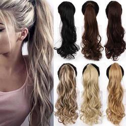 """WTB 22 """"длинные волнистые обертывания вокруг заколки в хвостик наращивание волос термостойкие синтетические натуральные волнистые конский"""