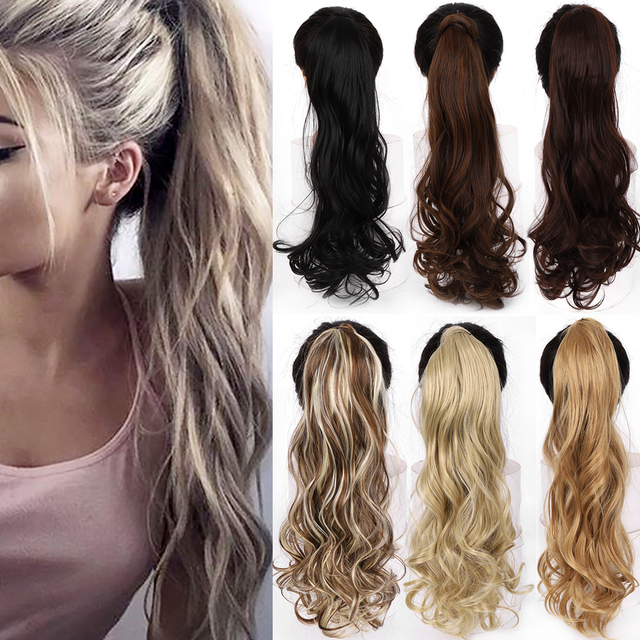 """WTB 22"""" Long Wavy Wrap Around Clip In Ponytail Hair Extension Heat Resistant Synthetic Natural Wave Pony Tail Fake Hair 1"""