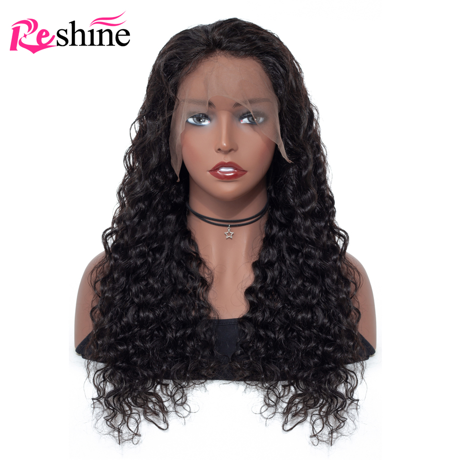 Reshine 13x4 Peruvian Water Wave Lace Front Wig Pre Plucked 150% Density Remy Human Hair Wigs For Black Women Natural Hairline