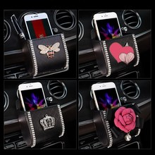 Storage-Box Car-Accessories Vent Hanging-Bag Multi-Function Air-Outlet Mobile-Phone Diamond