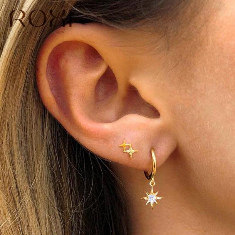 ROXI 925 Sterling Silver Star Stud Earrings For Women Elegant Wedding Jewelry Delicate Crystal Zircon Star Earrings Korean Gifts