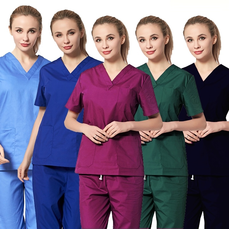 Women's Medical Uniforms Classic V-neck Scrub Tops Pure Cotton Doctor Clothing Nurse Uniform Surgical Clothing ( Just A Top)