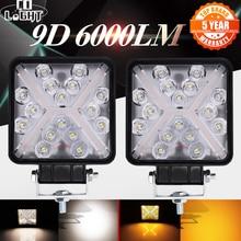 CO LIGHT 9D 4 inch Offroad LED Light Bar Combo Beam White/Yellow Work Light Fog Lamp 12V 24V for ATV UAZ 4WD Trucks 3000K 6000K