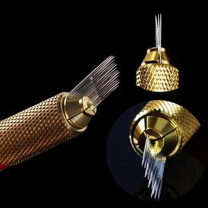 Image 5 - 100 stücke 3 Reihen Nadeln Manuelle Stift Klingen 16 pins Microblading Permanent Make Up Augenbrauen Tattoo 3D Stickerei