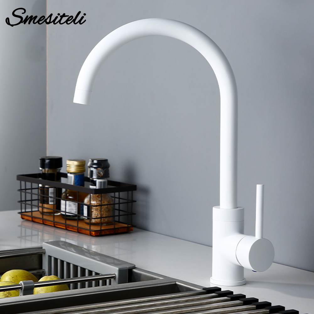 Smesiteli Brass White Single Handle Single Hole Countertop Basin Installation Hot And Cold Wate Kitchen sink Faucet