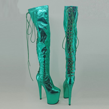 Leecabe  Green 20CM/8inches Pole dancing shoes High Heel platform Boots closed toe Pole Dance boots single shoes sexy nightclub mixed color performance adult ultra white women leather high boots heel 18cm pole dancing leg chain