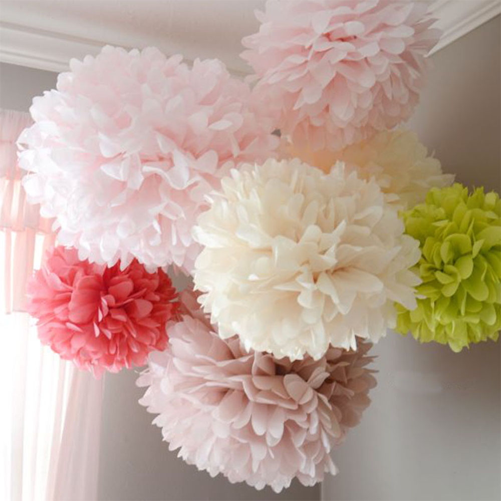 QIFU 6/8/10/12 Inch Tissue Paper Pompom Garland Rustic Wedding Decor Weeding Birthday Party Supplies Baby Shower Girl Favors