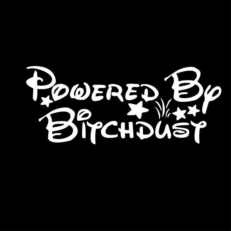 1 Powered By Bitchdust Funny Car Decal Vinyl Car Sticker For Windshield Tailgate