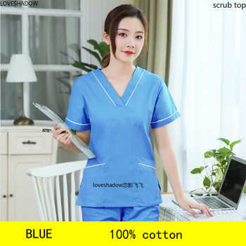 Plug Size S-4XL Women Scrubs Top Fashion Color Blocking Spa Uniforms Dentist Short Sleeve Workclothes Cotton Big Pockets Scrubs - DISCOUNT ITEM  40 OFF Novelty & Special Use