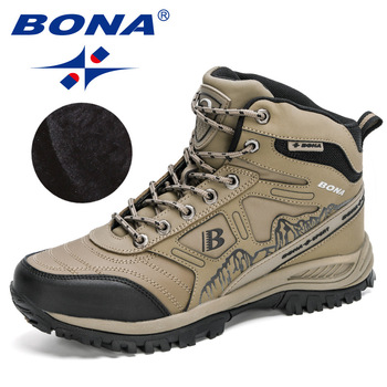 BONA 2020 New Arrival Hiking Shoes Action Leather Shoes Men Climbing & Fishing Shoes Man High Top Winter Plush Snow Boots Trendy 1