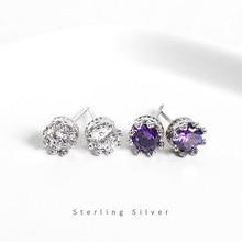 ZOBEI Classic 925 Sterling Silver Stud Earrings Round  Zircon Opal Earrings with Cubic Zirconia Jewelry Gift (Lam Hub Fong)