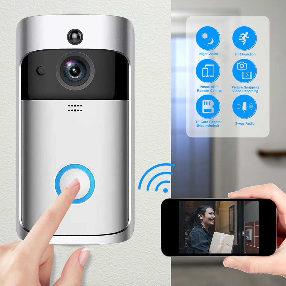 Wireless WiFi Smart Video Doorbell Camera Visual Intercom With  IR Night Vision IP Door Bell Wireless Home Security Camera