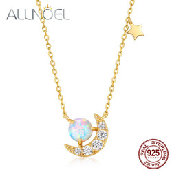 ALLNOEL 925 Sterling Silver Synthetic Opal 5A CZ Crescent Moon Pendant Necklace For Women 2020 New Trendy Fashion Jewelry