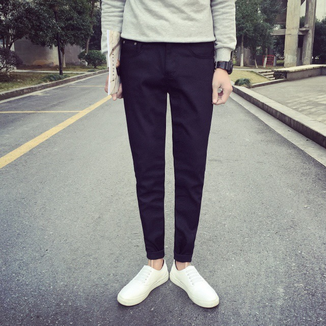 2016 Autumn And Winter Korean-style Jeans Men Elasticity Slim Fit Solid Color Skinny MEN'S Trousers Casual Harem Fashion Trouser