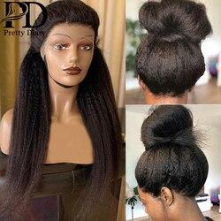 28 30 pouces crépus droite dentelle avant cheveux humains perruques 13x4 pré plumé perruque pour les femmes noires sans colle dentelle frontale perruque Remy cheveux