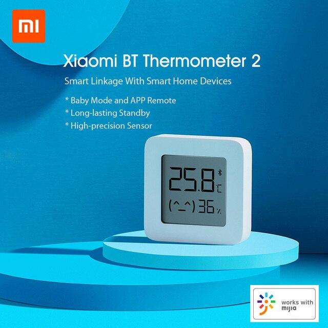 Hot Xiaomi Mijia Bluetooth Digital Thermometer 2 Wireless Smart Electric Digital Hygrometer Humidity Sensor Work With Mijia APP 2