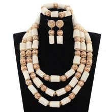 Free shipping Natural white coral african coral nigerian beads set african costume jewelry set 2017 JB144(China)
