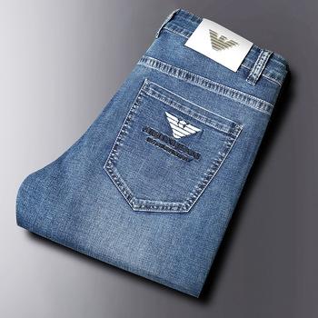 Wysokiej jakości męskie jeansy Slim elastyczne włochy Eagle marka moda spodnie biznesowe w stylu klasycznym proste spodnie dżinsowe Dropshipping tanie i dobre opinie CN (pochodzenie) na zamek błyskawiczny Cztery pory roku Daily Elegancko na luzie NONE Stałe Denim light średniej wielkości
