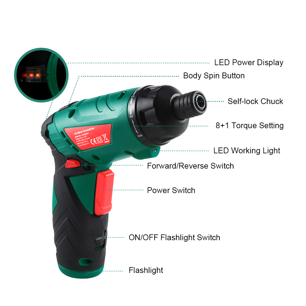 LED Drill With Screwdriver Driver Gun Tool Cordess Cordless Household Ion Lithium 6V Power Screwdriver Light Electric 3