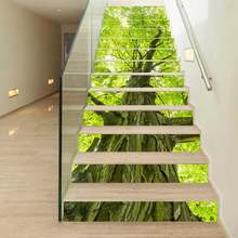 13pcs/set 3D Stairs Stickers Waterproof Removable Self-adhesive Wall Floor Decals Murals Home Decor Big Old Tree 18*100cm(China)