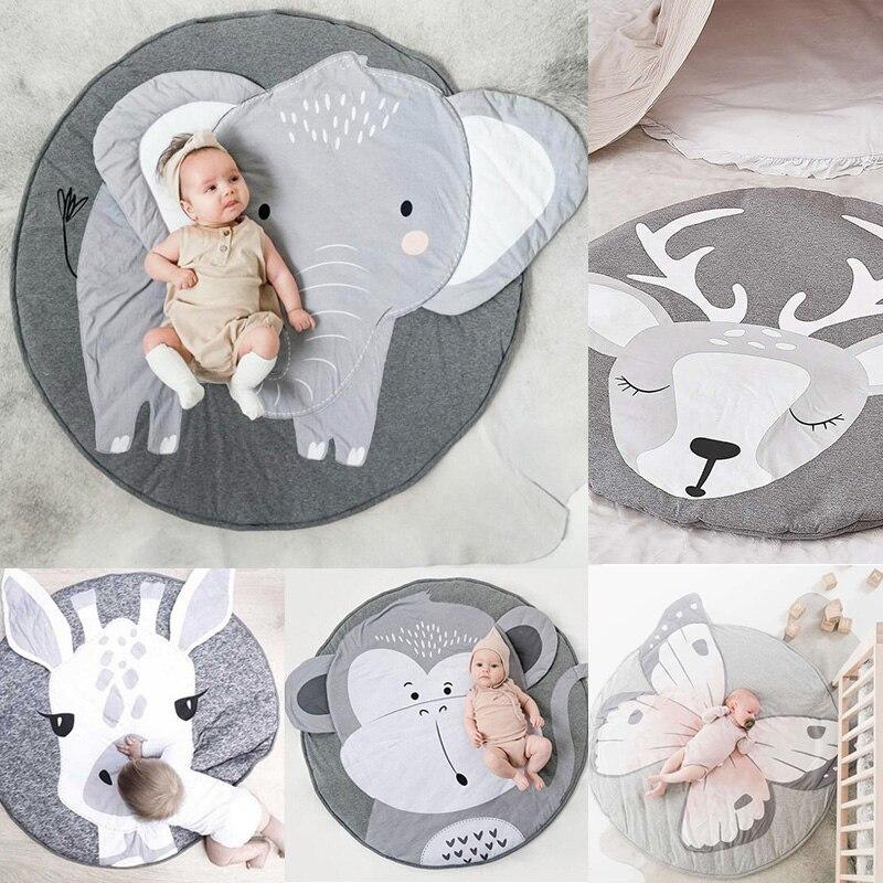 Play Mat Cartoon Animal Baby Mat Newborn Infant Crawling Blanket Cotton Round Floor Carpet Rugs Mat For Kids Room Nursery Decor