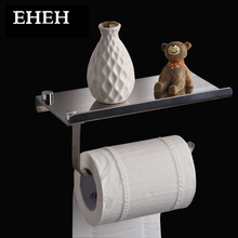 EHEH Bathroom Toilet Paper Holder Marine Grade Stainless Steel Wall Mount Roll Tissue Rack Roll Paper Organizer with Shelf