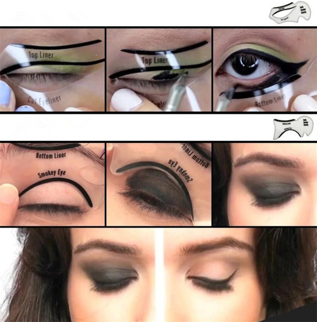 New 200sets/lot 2pcs Pro Eyeliner Stencils Winged Eyeliner Stencil Models Template Shaping Tools Eyebrows  Card Eye Shadow 2