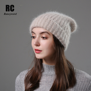 Image 2 - חדש פשוט ארנב פרווה כפת כובע לנשים חורף Skullies חם צמר כובע Gorros נשי כובע נשים סרוג חורף כובע
